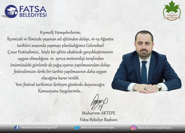 ÇINAR FESTİVALİ ERTELENDİ